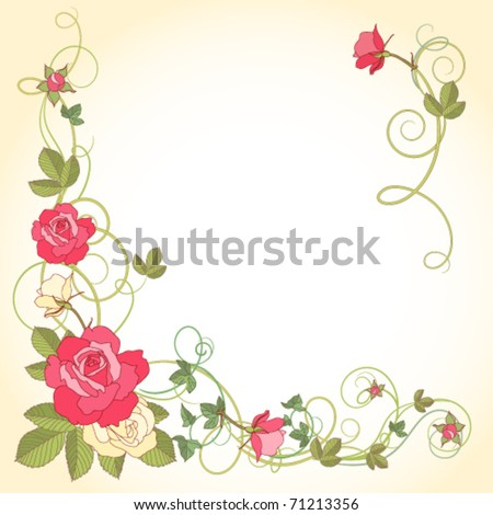 corner piece ornament of roses and Ivy - stock vector