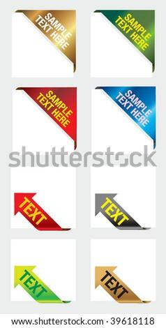 corner ribbon arrow label - stock vector