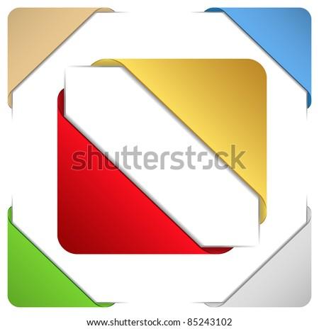Corner ribbons - stock vector