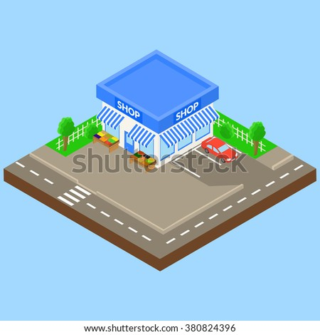 corner shop outdoor with parking and car, boxes of fruit and vegetables on the street. isometric. - stock vector
