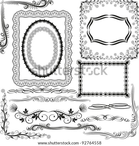 corners, borders and ornaments - stock vector