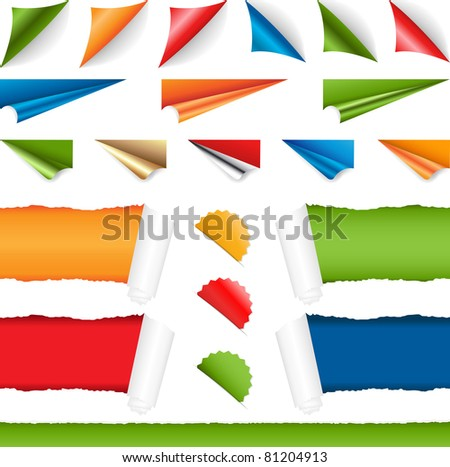 Corners Set, Isolated On White Background, Vector Illustration - stock vector