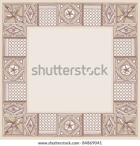 """Cornice entablature - hand draw sketch doric architectural order based """"The Five Orders of Architecture"""" is a book on architecture by Giacomo Barozzi da Vignola from 1593. Vector illustration. - stock vector"""