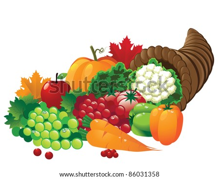 Cornucopia A horn of plenty overflowing with autumn fruits and vegetables. EPS 8 vector, grouped for easy editing, with no open shapes, strokes or transparencies. - stock vector