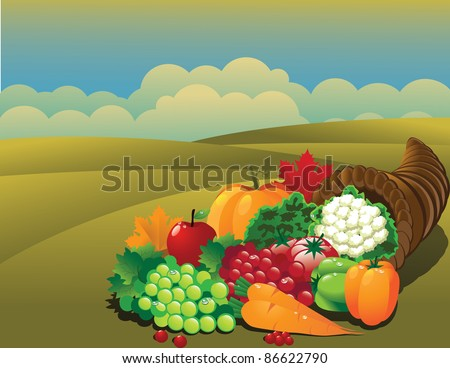 Cornucopia background EPS 8 vector, with no open shapes, strokes or transparencies. Grouped for easy editing. - stock vector