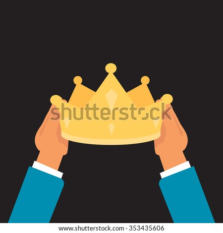 coronation  ceremony : ritual placement of a crown upon a king or queen - stock vector