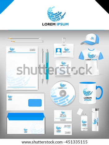 Corporate blue identity template realistic cup stock photo photo corporate blue identity template realistic cup business card letterhead envelope usb colourmoves