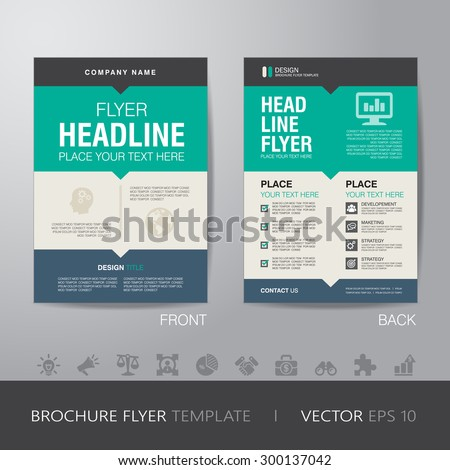 corporate brochure flyer design layout template in A4 size, with bleed, vector eps10. - stock vector