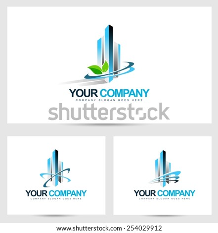 Corporate Building Logo. Vector Design for Real Estate Company.Skyscraper logo. - stock vector