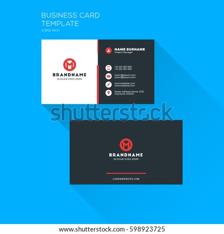 Corporate business card print template personal stock vector 2018 corporate business card print template personal visiting card with company logo clean flat stationery reheart Images