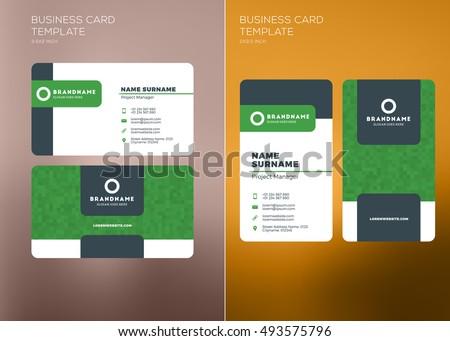 Corporate Business Card Print Template Vertical Stock Vector - Horizontal business card template