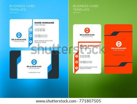 Corporate Business Card Print Template Vertical Stock Vector