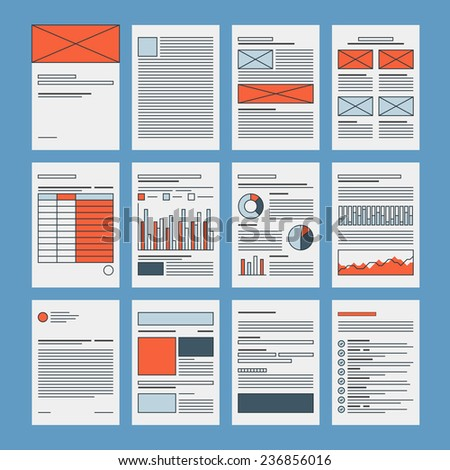 Corporate business documents template, company presentation files layout, financial data and marketing research abstract papers. Flat design icon set modern vector illustration concept. - stock vector