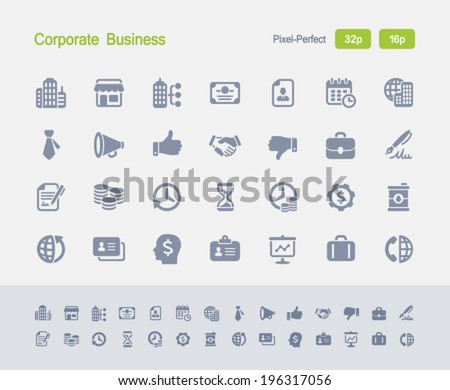 Corporate Business Icons. Granite Icon Series. Simple glyph stile icons optimized for two sizes. - stock vector