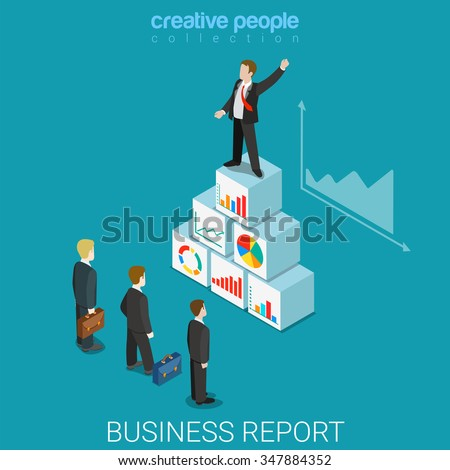 Corporate business report flat 3d isometry isometric concept web vector illustration. Ambitious expressive businessman box pyramid speech about statistics indicator graphic. Creative people collection - stock vector