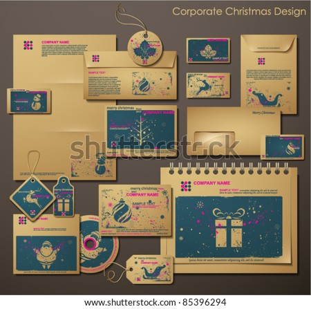 Corporate Christmas Design. Different Christmas Symbols. Two colors different material for printing  the old fashioned way, but trendy. Print on blank brown/recycled paper. Vector Illustration. - stock vector