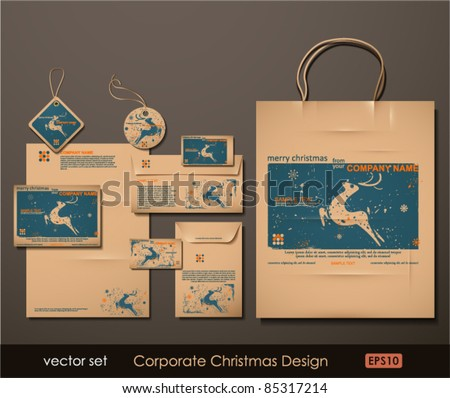 Corporate Christmas Design. Reindeer theme. Two colors different material for printing  the old fashioned way, but trendy. Print on blank brown paper. Vector Illustration. - stock vector