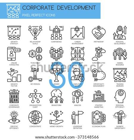 corporate development , thin line icons set - stock vector