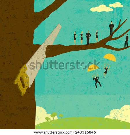 Corporate Downsizing Business people watch as their branch is cut from the tree. The people, saw & tree, and background are on separately labeled layers. - stock vector