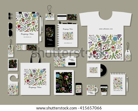 Corporate flat mock-up template, floral design - stock vector