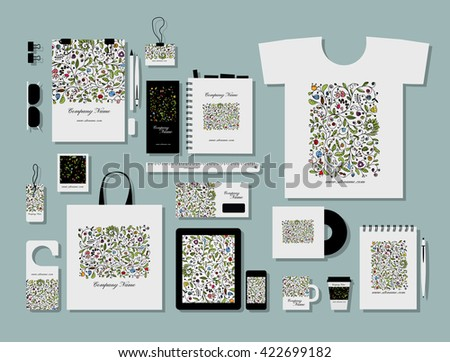Corporate flat mock-up template, floral design. Vector illustration - stock vector