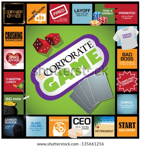 Corporate Game Infographic. With humorous milestones along the career path. EPS 8 vector, grouped for easy editing. No open shapes or paths. - stock vector