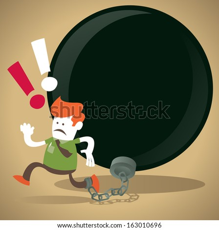 Corporate Guy is locked in a Ball and Chain. Great illustration of Retro styled Abstract Businessman caught up in a bureaucratic chain and ball. - stock vector