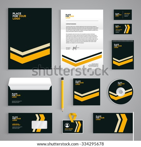 Corporate identity branding template abstract vector stock vector hd corporate identity branding template abstract vector stationery design with yellow stripes illustration on dark background cheaphphosting Image collections