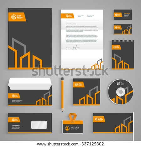 Corporate identity branding template. Real Estate vector stationery design with building logo icon on dark gray background. Business documentation - stock vector