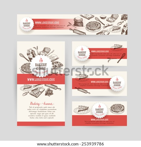 Corporate identity business set design with baking and cooking tools. Vintage background. Vector illustration.Hand drawn retro illustration. Sketch. - stock vector