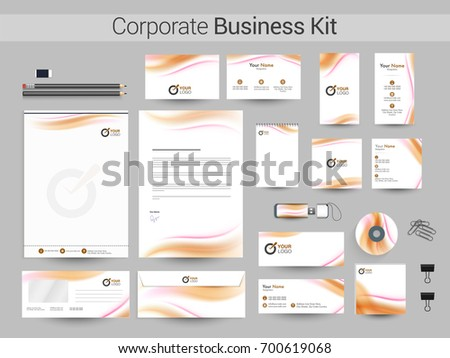 Corporate identity business stationery kit glossy stock vector corporate identity business stationery kit with glossy waves including letter head business card reheart Images