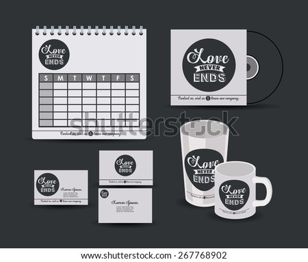 Corporate identity design over black background, vector illustration - stock vector