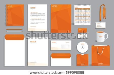 Corporate Identity Design Template Orange Polygonal Stock Vector ...