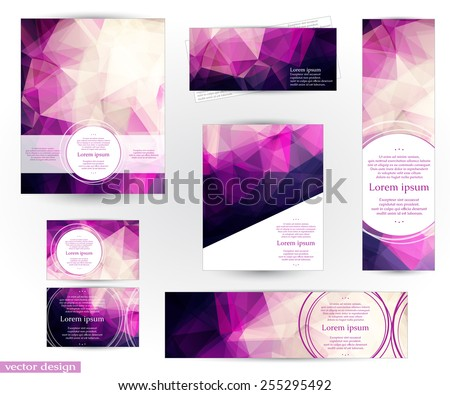 Corporate identity design templates with abstract geometric background with romantic pink, purple and violet transparent triangles. Fully editable, you can transform and place the pattern as you like. - stock vector