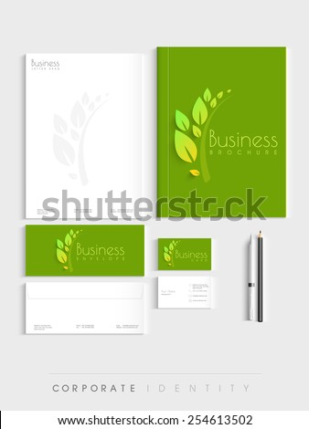 Corporate identity kit for nature concept includes Letterhead, Brochure, Envelopes, Visiting Cards and stationary. - stock vector