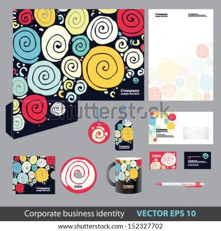 Corporate identity kit or business kit with retro pattern for your business includes Folder, CD Cover, Business Card, Envelope, Letter Head Designs, Labels, Mug, Pen in EPS 10 format.  - stock vector