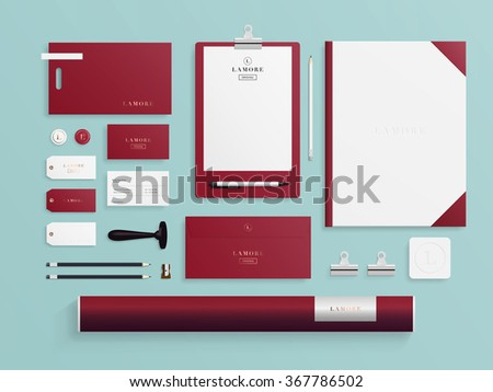 Corporate identity mock up for beauty or hair salon, cosmetic and wedding companies with logo template. Business set of envelope, notebook, card, folder, paper bag, etc. Vector illustration. - stock vector