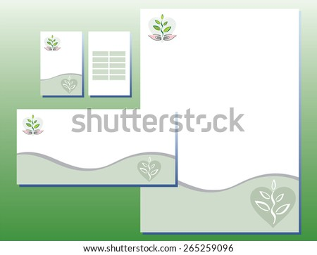 Corporate Identity Set - Plant / Hands / Heart - stock vector