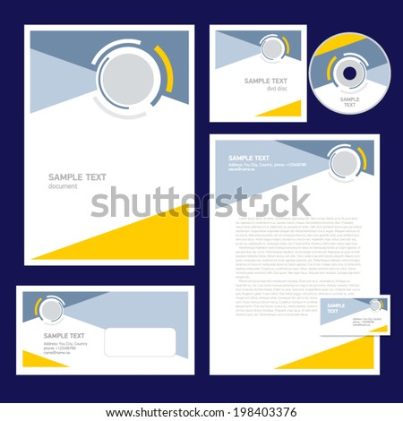 corporate identity template design geometric abstract figure circle tech - stock vector
