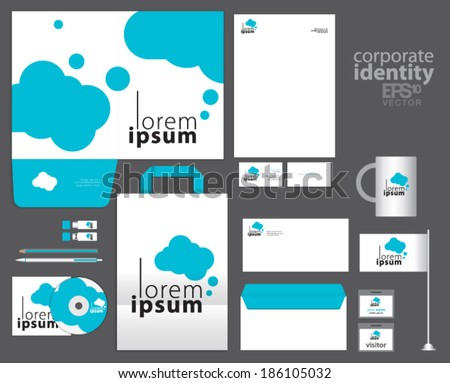 Corporate identity template design with blue clouds. Simple vector company style letter business card envelope brochure and paper bag. - stock vector
