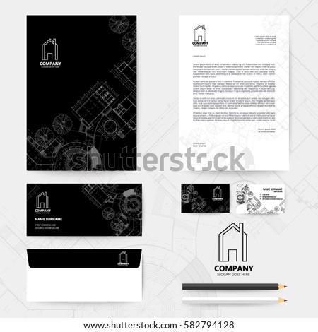 Corporate identity template design blueprint background stock vector corporate identity template design with blueprint background business realestate malvernweather Gallery