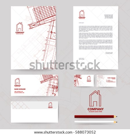 Corporate identity template design blueprint background vectores en corporate identity template design with blueprint background business realestate malvernweather Image collections
