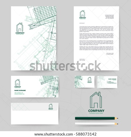 Corporate identity template design blueprint background stock vector corporate identity template design with blueprint background business realestate cheaphphosting Image collections