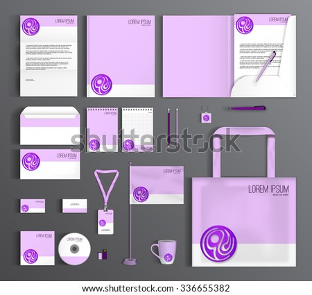 Corporate identity template design with purple circle. Business set stationery.