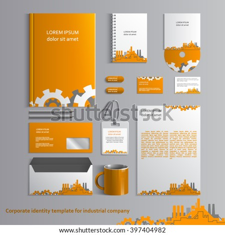 Corporate identity template for industrial company with factories and cogwheels. Vector company style for brandbook and guideline. EPS 10