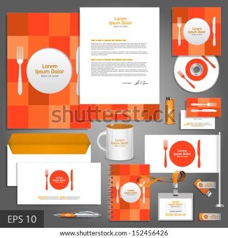 Corporate identity template for restaurant with plate, fork and knife. Vector company style for brandbook and guideline. EPS 10 - stock vector