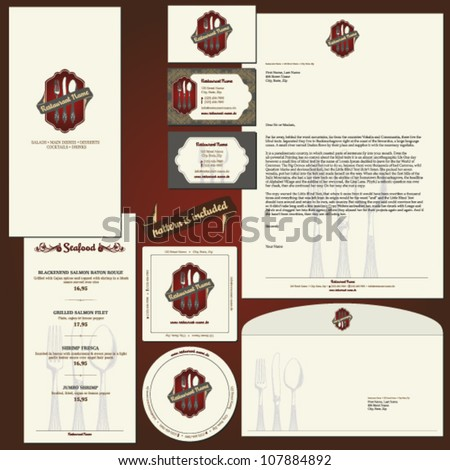 corporate identity template for restaurants with layouts for business card, flyer, letterhead, envelope, coaster - stock vector