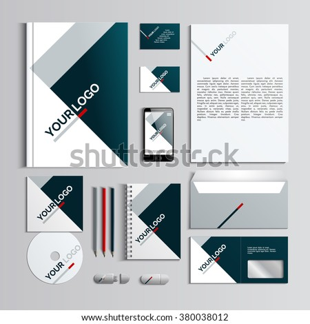 Corporate identity template in dark blue and grey colors with geometric pattern. Vector company style for brandbook and guideline. EPS 10 - stock vector