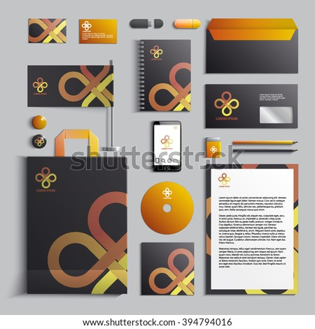 Corporate identity template in orange and dark gray colors with abstract logo template. Vector company style for brand book and guideline. EPS 10 - stock vector