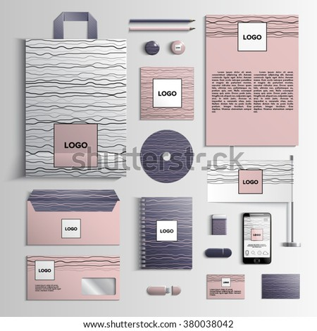 Corporate identity template in pink and violet colors with pattern of stripes. Vector company style for brandbook and guideline. EPS 10 - stock vector